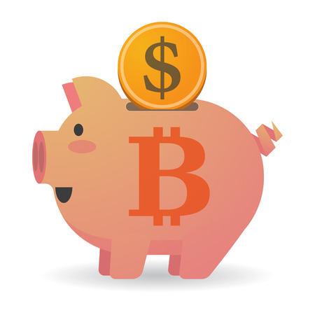 p2p: Illustration of an isolated piggy bank with a bit coin sign