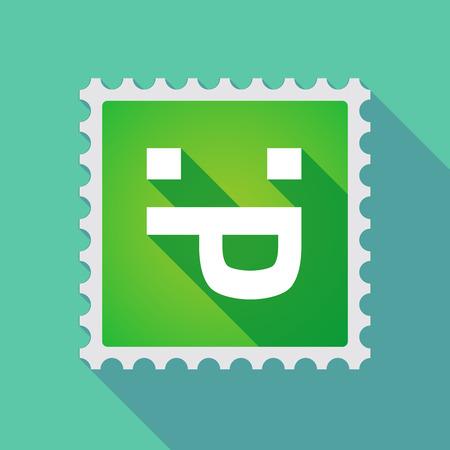 sacar la lengua: Ilustración de un icono de sello de correo larga sombra con una cara de texto lengua fuera