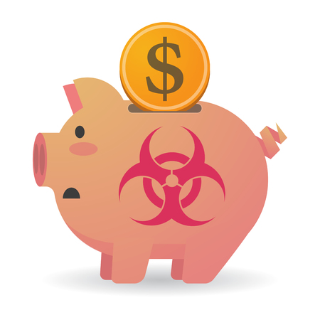biohazard: Illustration of an isolated piggy bank with a biohazard sign Illustration