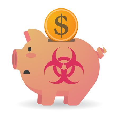 riesgo biologico: Ilustración de una hucha aislados con una señal de peligro biológico