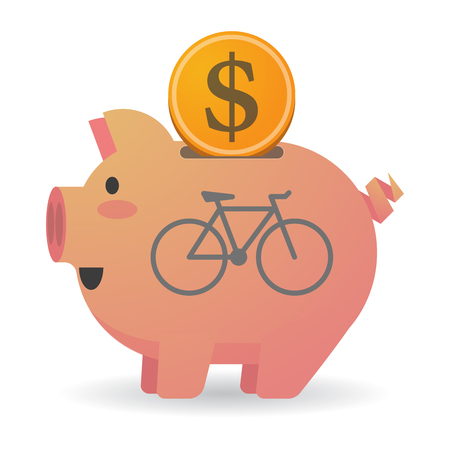 Illustration of an isolated piggy bank with a bicycle