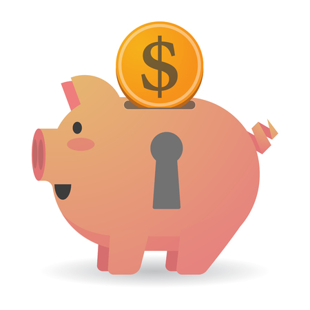 key hole: Illustration of an isolated piggy bank with a key hole