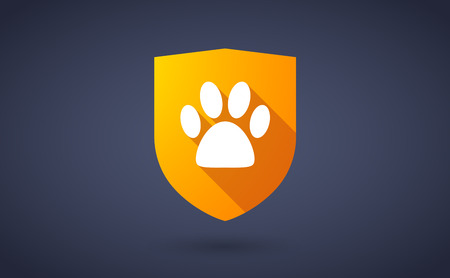 animal shadow: Illustration of a long shadow shield icon with  an animal footprint Illustration