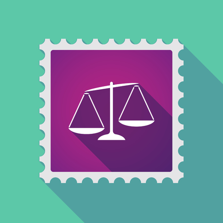 unbalanced: Illustration of a long shadow mail stamp icon with  an unbalanced weight scale