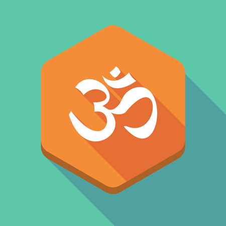 ohm symbol: Illustration of a long shadow hexagon icon with an om sign