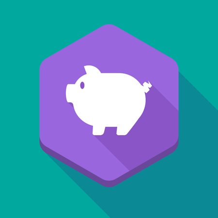 bacon art: Illustration of a long shadow hexagon icon with a pig Illustration