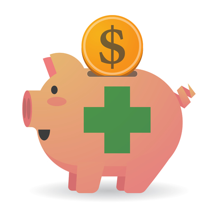healthy economy: Illustration of an isolated piggy bank with a pharmacy sign Illustration