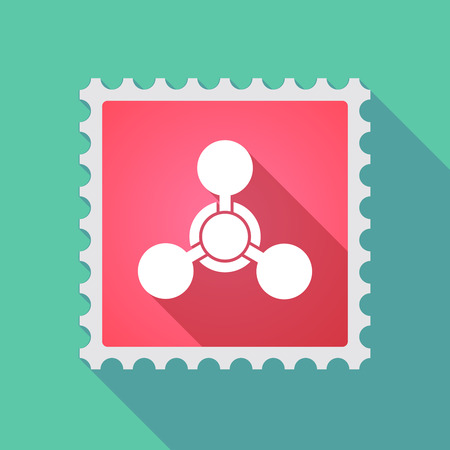 chemical weapon sign: Illustration of a long shadow mail stamp icon with a chemical weapon sign