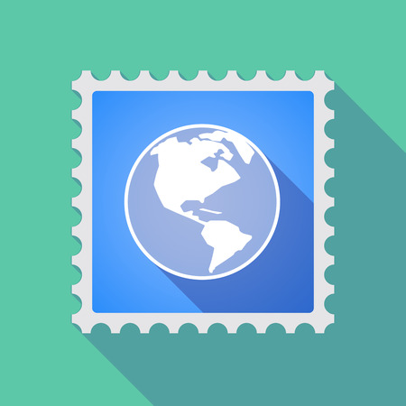 philatelist: Illustration of a long shadow mail stamp icon with an America region world globe