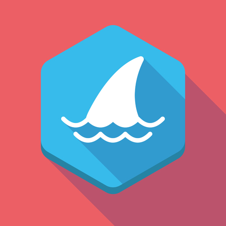 great danger: Illustration of a long shadow hexagon icon with a shark fin