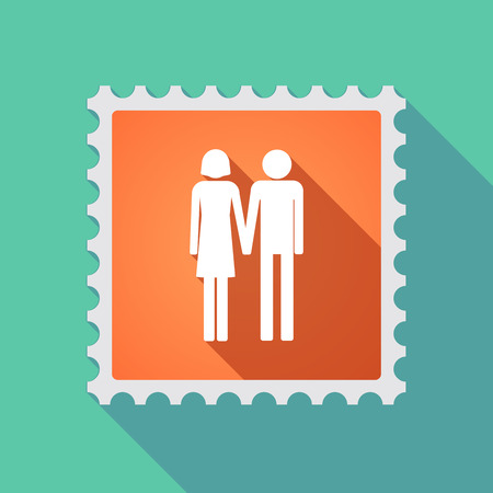 heterosexual couple: Illustration of a long shadow mail stamp icon with a heterosexual couple pictogram