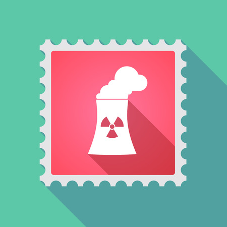 power station: Illustration of a long shadow mail stamp icon with a nuclear power station