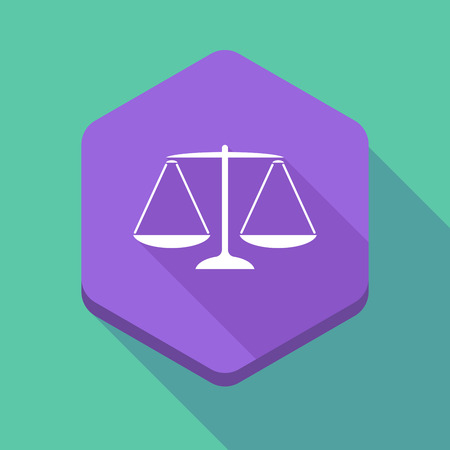 trial balance: Illustration of a long shadow hexagon icon with a justice weight scale sign