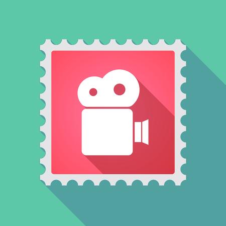 correspondencia: Ilustración de un icono de sello de correo larga sombra con una cámara de cine