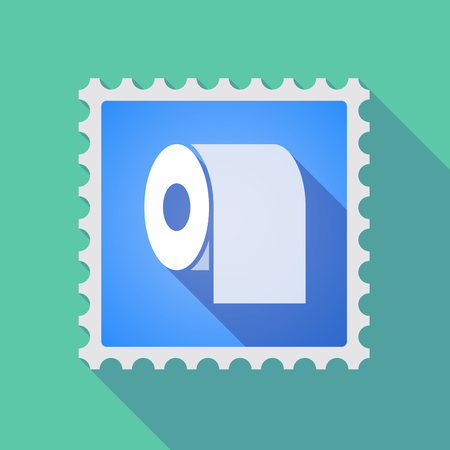 toilette: Illustration of a long shadow mail stamp icon with a toilet paper roll