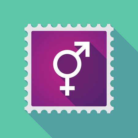sex discrimination: Illustration of a long shadow mail stamp icon with a bigender symbol Illustration