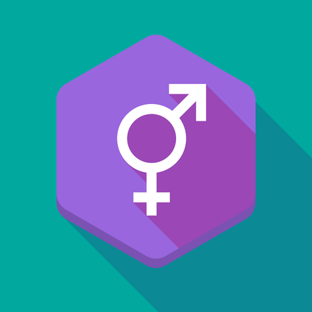 sex discrimination: Illustration of a long shadow hexagon icon with a bigender symbol Illustration