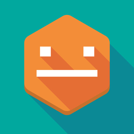 emotionless: Illustration of a long shadow hexagon icon with a emotionless text face Illustration