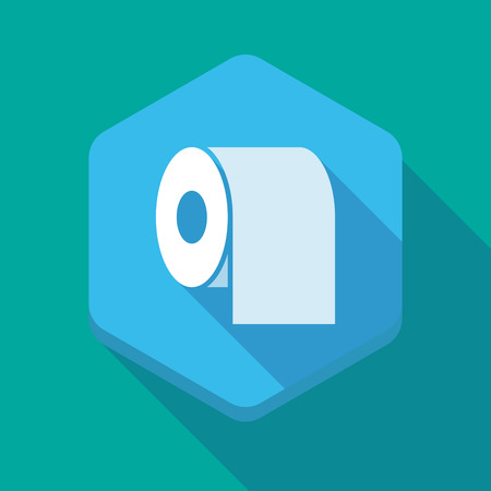 toilette: Illustration of a long shadow hexagon icon with a toilet paper roll Illustration