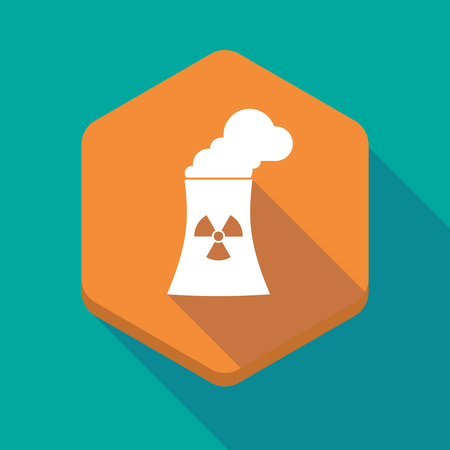nuclear power station: Illustration of a long shadow hexagon icon with a nuclear power station Illustration