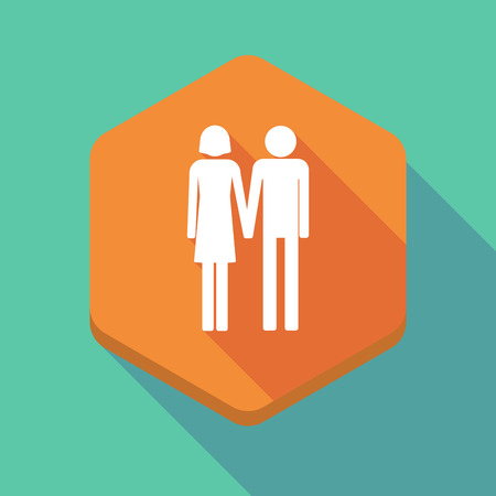 heterosexual couple: Illustration of a long shadow hexagon icon with a heterosexual couple pictogram