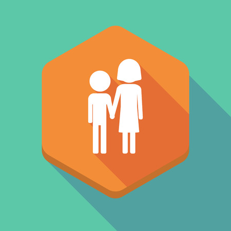 orphan: Illustration of a long shadow hexagon icon with a childhood pictogram Illustration