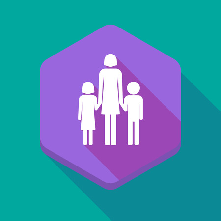 single family: Illustration of a long shadow hexagon icon with a female single parent family pictogram