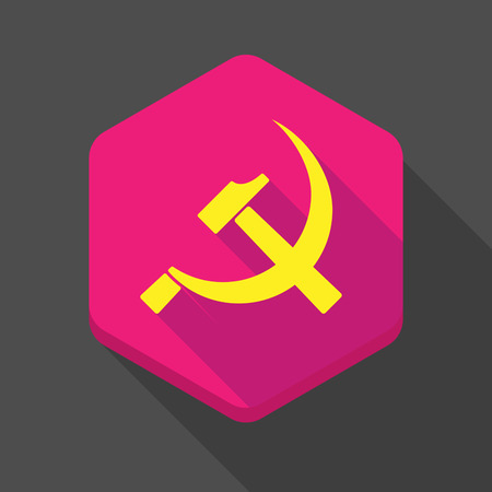 communist: Illustration of a long shadow hexagon icon with  the communist symbol Illustration