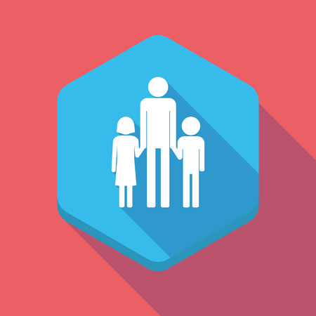 single family: Illustration of a long shadow hexagon icon with a male single parent family pictogram