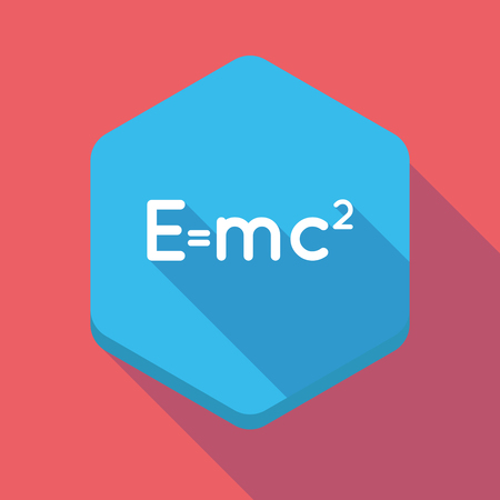 relativity: Illustration of a long shadow hexagon icon with the Theory of Relativity formula