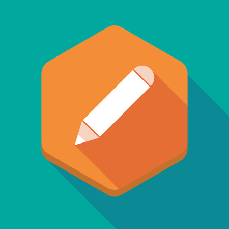 tip style design: Illustration of a long shadow hexagon icon with a pencil