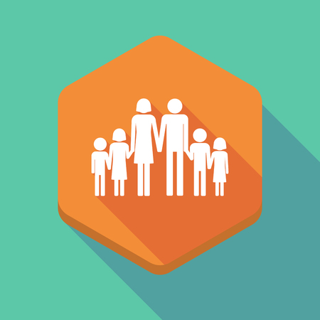large family: Illustration of a long shadow hexagon icon with a large family  pictogram