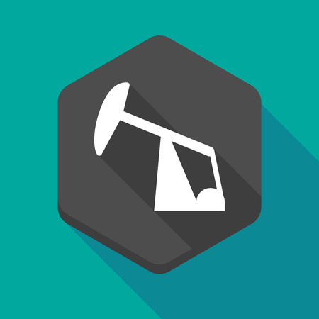 horsehead pump: Illustration of a long shadow hexagon icon with a horsehead pump