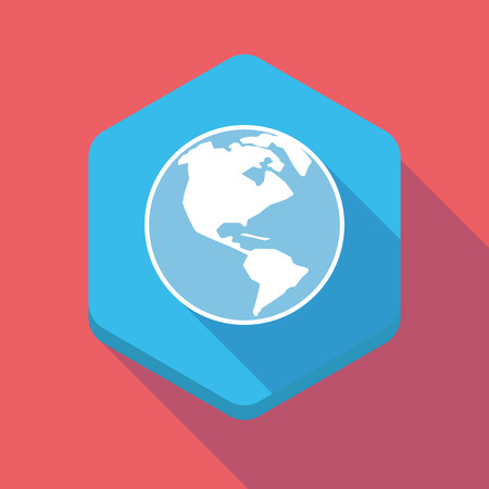 world  hexagon: Illustration of a long shadow hexagon icon with an America region world globe