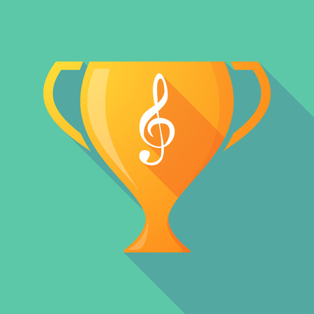 g clef: Illustration of a trophy icon with a g clef