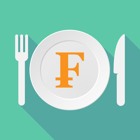 franc: Long shadow tableware vector illustration with a swiss franc sign Illustration