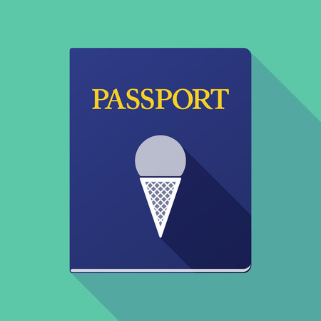 emigration: Illustration of a long shadow passport with a cone ice cream