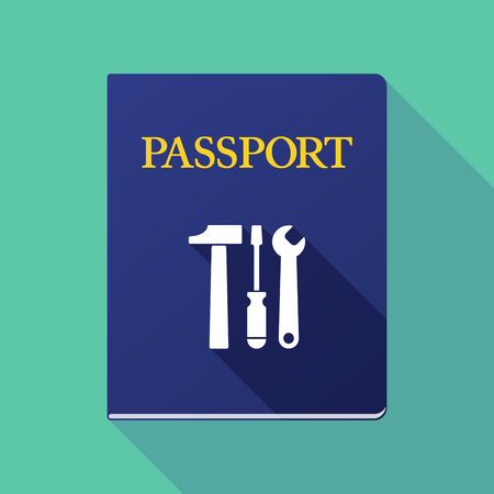 emigration and immigration: Illustration of a long shadow passport with a tool set Illustration