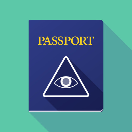 all seeing eye: Illustration of a long shadow passport with an all seeing eye