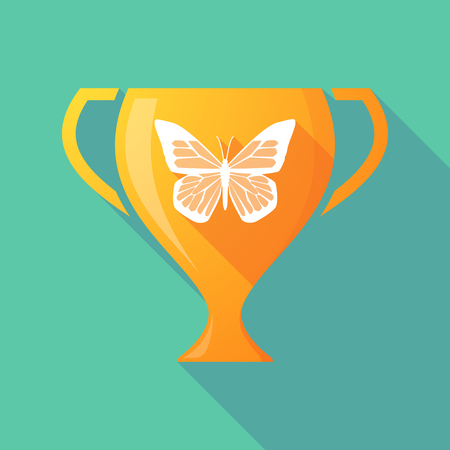 beauty contest: Illustration of a trophy icon with a butterfly