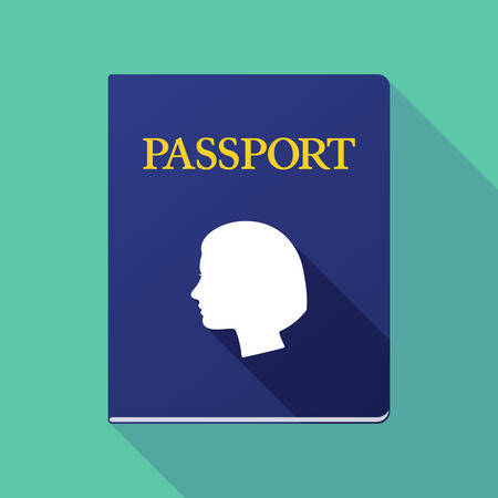 emigration and immigration: Illustration of a long shadow passport with a female head Illustration