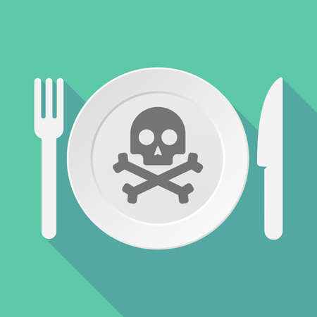 food poison: Long shadow tableware vector illustration with a skull