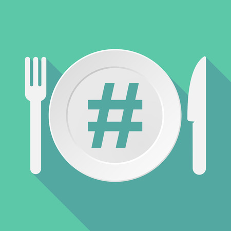 hash: Long shadow tableware vector illustration with a hash tag Illustration