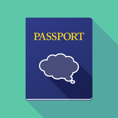 emigration and immigration: Illustration of a long shadow passport with a comic cloud balloon Illustration