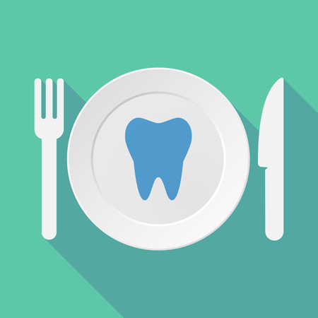 food hygiene: Long shadow tableware vector illustration with a tooth Illustration