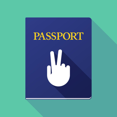 emigration and immigration: Illustration of a long shadow passport with a victory hand Illustration