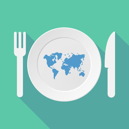 global settings: Long shadow tableware vector illustration with a world map Illustration