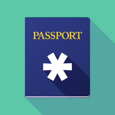 emigration: Illustration of a long shadow passport with an asterisk