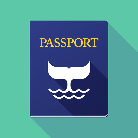 emigration: Illustration of a long shadow passport with a whale tail Illustration