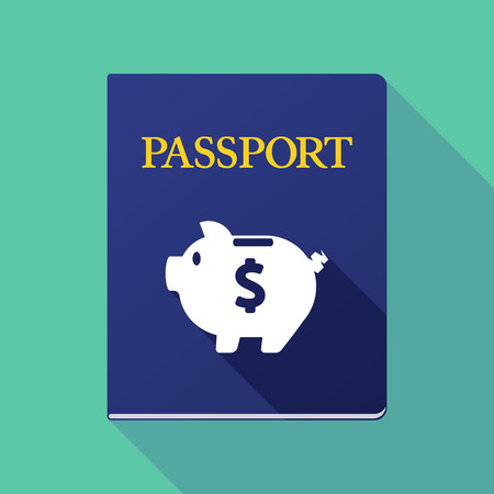 Illustration of a long shadow passport with a piggy bank